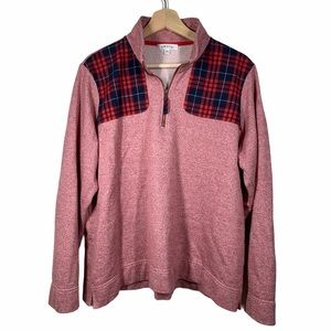 Orvis pink with plaid quarter zip- size XL